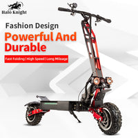 Halo Knight Fashionable 60V 5600W Electric Scooter With Seat 11inch Off Road Dual Motor  Foldable Electric Scooter for Adults