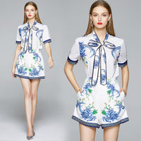 Fashion Designer Blue Flower Print Shorts Two Piece Set Women Short Sleeve Bow Collar Shirt Top + Pocket Wide Leg Shorts Set