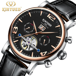 KINYUED Skeleton Mechanical Wrist Watches Mens Luxury Brand Automatic Watch Waterproof Business Date reloj hombre Dropshipping