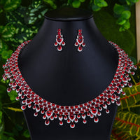 GODKI Exclusive Clear Crystal Red Green Blue 2pcs Necklace Earrings New 2020 Shining Tassel Dubai Fine Jewelry Sets for Ladies