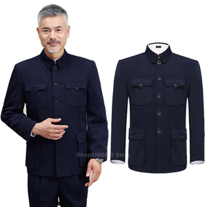 Traditional Chinese Tang Suit for Men Jacket Coat New Year Spring Festival Tunic Zhongshan Mao Suit Blazer Knitting Pockets Top