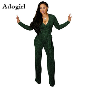 Woman Gold Wire Rib Jumpsuit Women Bodycon Metallic Glitter High Stretchy Ribbed Jumpsuit Warp V Neck Overalls Christmas Outfits