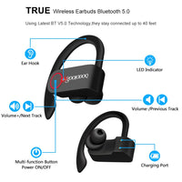 GOOJODOQ True Wireless Earbuds TWS Bluetooth Earphone 5.0 with Charger Box Sports Earhook Bluetooth Headphone for iphone xiaomi