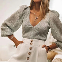 Elegant women sequined tops 2020 spring fashion ladies vintage silver top party female sexy v-neck tops femme girls chic clothes