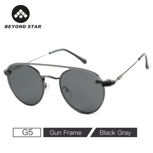 BEYONDSTAR New Polarized Steampunk Round Magnet Clip On Sun Glasses Transparent
