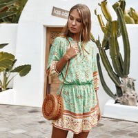 Boho Floral Print Romper V Neck Button Up Loose Fit Playsuit Half Sleeve Frill Lace Up Jumpsuit