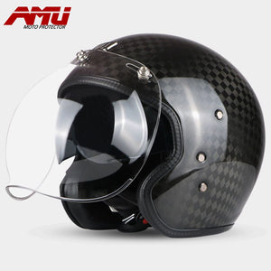 AMU Motorcycle Carbon Fiber LOCOMOTIVE Helmet Motorbiker Open Face Retro Vintage