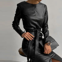Women PU Front Split Sashes Elegant Sheath Dress Long Sleeve O Neck Vintage Dress 2021 Spring New Office Lady Casual Women Dress