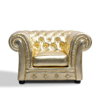 U-BEST luxury golden armchair hotel sofa tufted back living room chesterfield single sofa chair (Gold color)