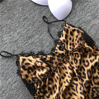 QWEEK Leopard Pajamas for Women Lace Sexy Lingerie Fashion Silk Pajama Sets Women 2019 Summer Pijama Mujer Pyjama with Chest Pad
