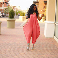 VAZN summer 2019 women casual sleeveless suspenders comfortable simple without decoration red jumpsuits long pants PY8310