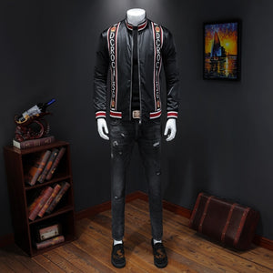 Male qiu dong's personality and fashionable leisure embroidery printing jacket men suit male article number 19328 P170