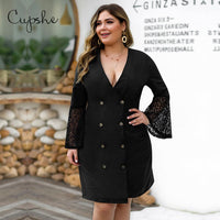 CUPSHE Plus Size Black Lace Sleeve V-neck Dress Large Women Long Bell Sleeve Buttoned Party Dress 2020 Winter Elegant Dress