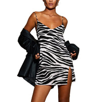 Sleeveless Straps Mini Sundress Women's V-neck Split Dress Stylish Zebra Striped/Flowers Print Backless Short A-Line Party Club