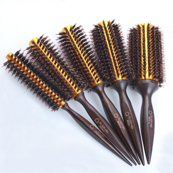 IRUI 1pc  Natural Boar Bristle Round Brush Wooden Handle Hair Rolling Brush For Hair Drying