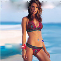 2020 Sexy Women Micro Print Bikinis Set low waist Push Up Padded Bra Thongs Swimwear Boho style Swimsuit Bathing Suit beach wear