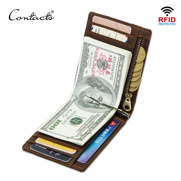 CONTACT'S Crazy Horse men RFID Genuine Leather Money Clip Card Wallet Thin Bifold