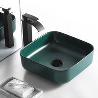 Grean Ceramic Wash Basin Glaze Spraying  Bathroom Sink Counter Bathroom Accessory Sqaure