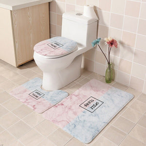 3Pcs/set Bathroom Mat Set Flannel Anti-Slip Kitchen Bath Mat Carpet Bathroom Rug Washable Simple home decor toilet seat cushion