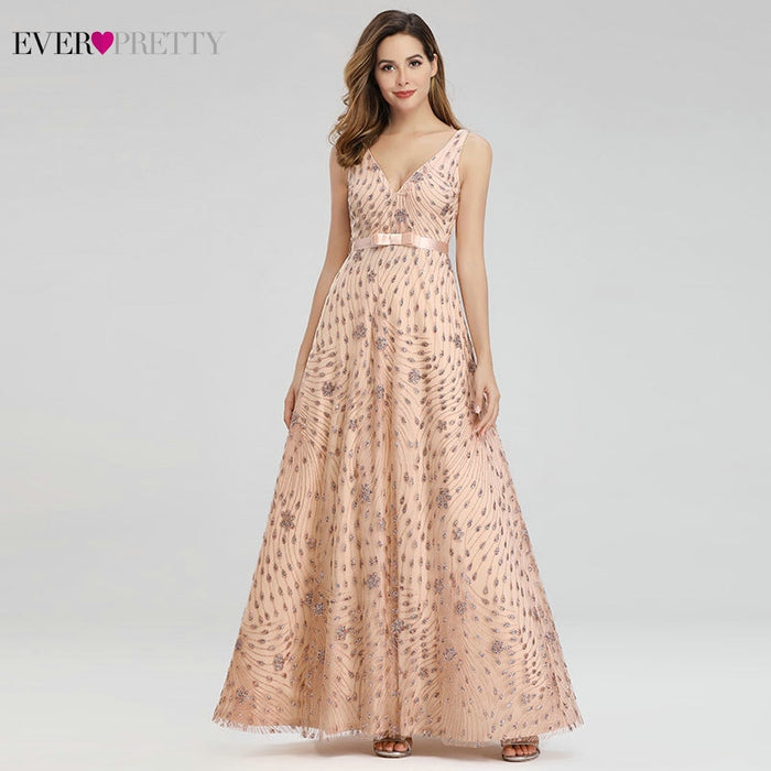 Robe De Soiree Ever Pretty Rose Gold Evening Dresses Long A-Line V-Neck Bow