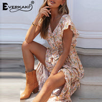 Everkaki Floral Print Long Dress Boho Summer Vestidos Buttons Sashes Ladies Gypsy Maxi Dresses Casual Female 2020 Spring New