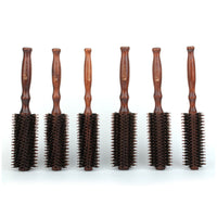 IRUI 1pc Natural Boar Bristle Round Hair Comb Anti Static Hair Drying Styling Curling Hair Brush