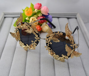 Super Luxury Baroque Sunglasses Women Metal Flower Vintage Eyewear Brand Design Sun Glasses Outdoors Casual Fashion Accessories