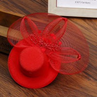 Haimeikang Women Girls Party Prom Shiny Hair Clip Lady's Fascinator Hat Feathered Flower Hair Accessories Elegant Hair Barrettes