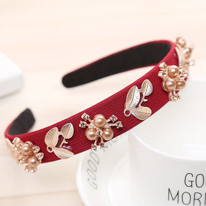 Haimeikang Women Hairband Crown Full Rhinestone Handmade Hair Bands Red Crystal Velvet Wide Hoop Headband Wedding Hair Jewelry