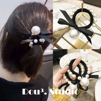 Hair Accessories Pearl Elastic Rubber Bands Ring Headwear Girl Bows Elastic