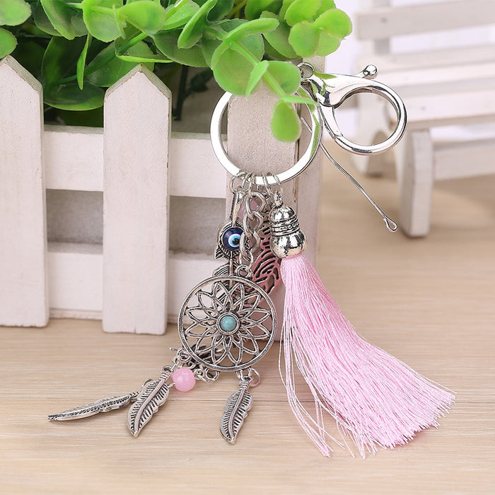 Handmade Natural Stone Keychain Dream Catcher Keyring Tassels Feather Keychain Women Silver Boho Jewelry Keychain Gift for Women