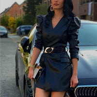 Women's Dress Black V-neck PU Bandage Faux Leather Jacket-Dresses With Belt Female Autumn Winter Streetwear Ladies Mini Vestido