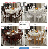 Karois01 Marble Round Table Folding Rectangular Fire Stone Solid Wood Dining Table Combination