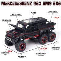 1:22 New BENZ G63 6X6 Off Road Car Model Vehicles Double Pull Back Kids Toys For Children Glowing Gift Alloy Toy Car Collectible