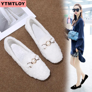 2019 autumn and winter new ladies lazy shoes Lok Fu shoes comfortable pregnant women shoes female furry flat shoes