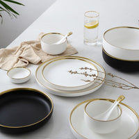 Gold Stroke Ceramic Dinner Plate Set Porcelain Steak Tableware Rice Soup Bowl Spoon Dish Home