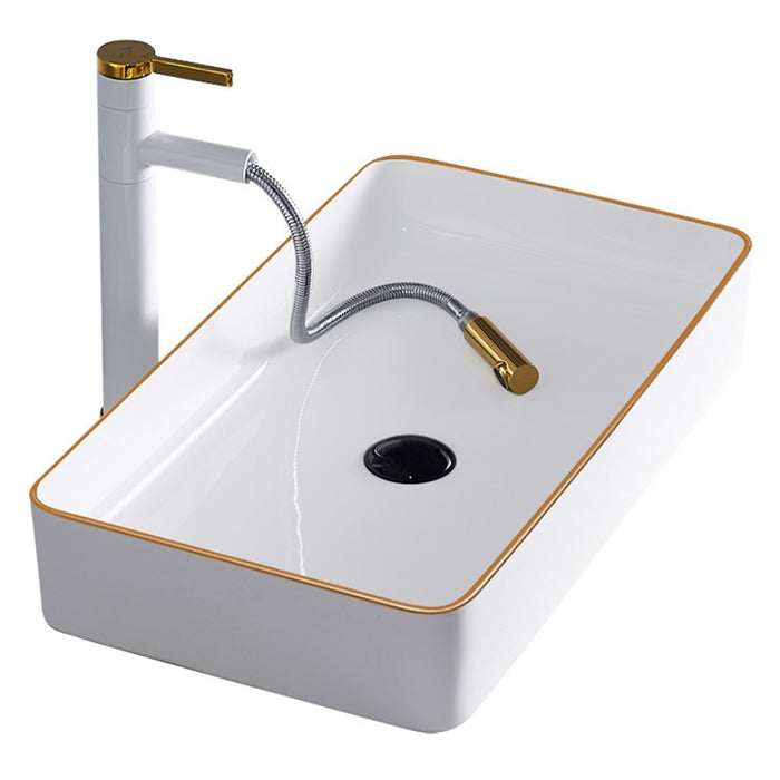 Gold Bathroom Sink Bowls Above Counter Basin White Art Basin Sink Light Luxury European Style