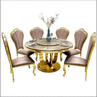 marble top round dining table and chair set for home dining room furniture