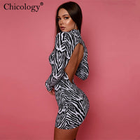 Chicology Zebra Stripe Backless Bodycon Mini Dress Women Long Sleeve Autumn Winter Clothes Party Club Fashion Outfits Streetwear