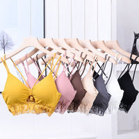 2020 Free Size Deep V Lace Bras Padded Bralette For Women Fashion Wireless Bra 7 Colors Summer Crop Top Girls Backless Lingerie