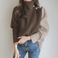 Women Turtleneck Chunky Oversized Sweater Korean Patchwork Knit Sweaters Pullover And Jumper