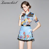 Ladies Chiffon Two Pieces Set Ribbon Bow Collar Beading Tassels Short Sleeve Blouse Shirts + Blue Flower Print Pocket Shorts Set
