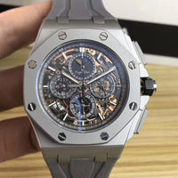 Luxury Brand New Men Quartz Chronograph Sapphire Stainless Steel Rose Gold Moonphase Grey Titanium Rubber Blue Luminous Watch