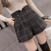 Women Woolen Shorts 2019 Autumn Winter New Fashion High Waist Double-breasted Wool Shorts Ladies Casual Wide Leg Shorts