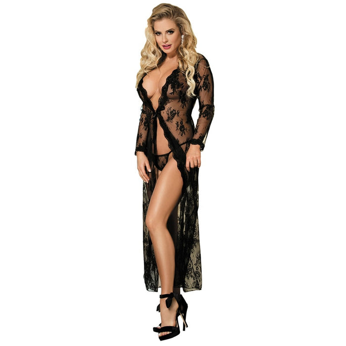 Comeondear 5XL Plus Size Lace Night Dress For Sex Long Sleeve Robe Femme Dentelle Woman