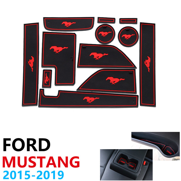 Anti Slip Rubber Cup Cushion Door Groove Mat for Ford Mustang 6th Gen S550 EcoBoost Export