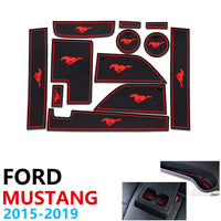 Anti-Slip Rubber Cup Cushion Door Groove Mat for Ford Mustang 6th Gen S550 EcoBoost Export 2015~2019 2016 2017 2018 Accessories