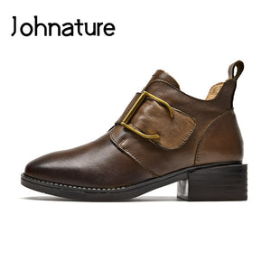 Johnature Square Heel 2019 New Winter Platform Boots Women Shoes Genuine Leather Hook & Loop Round Toe Sewing Ankle Boots