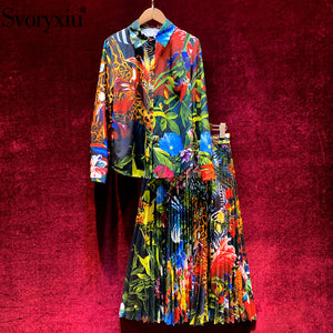 Svoryxiu Runway Spring Summer Vintage Skirt Suit Women's Long Sleeve Jungle Animal Print Blouse + Pleated Midi Skirt 2 Piece Set