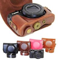 New Pu Leather Camera Case For Canon Powershot G7X Mark 2 G7X II G7X III G7X3 G7X2 G7XII Digital Camera Bag Cover + strap